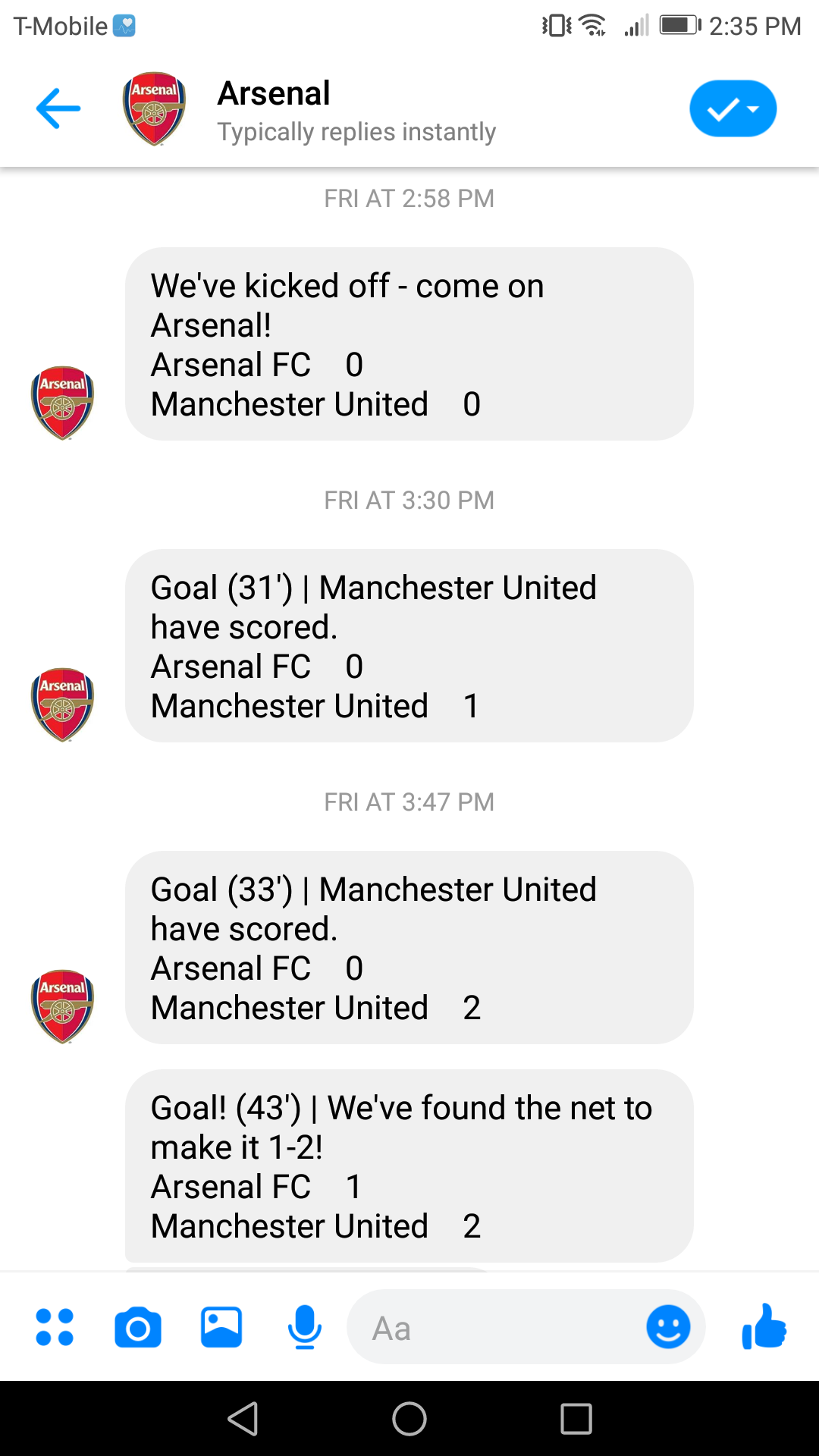 Arsenal's bot provides live updates