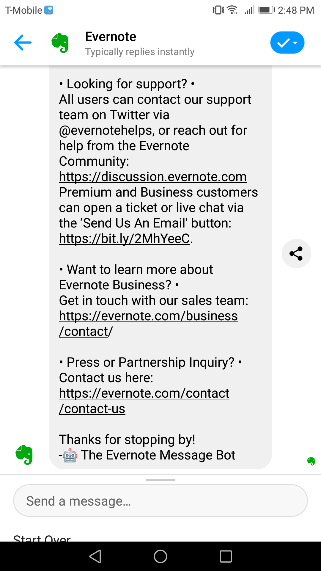 Evernote is different from our other chatbot marketing examples in that it's a single-message bot that encourages users to go off-site