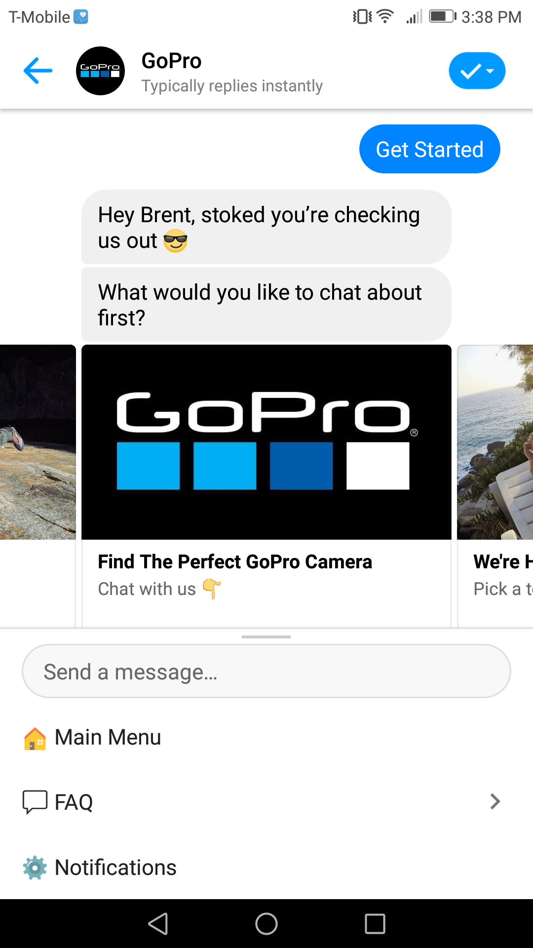 GoPro is a chatbot marketing example with personality