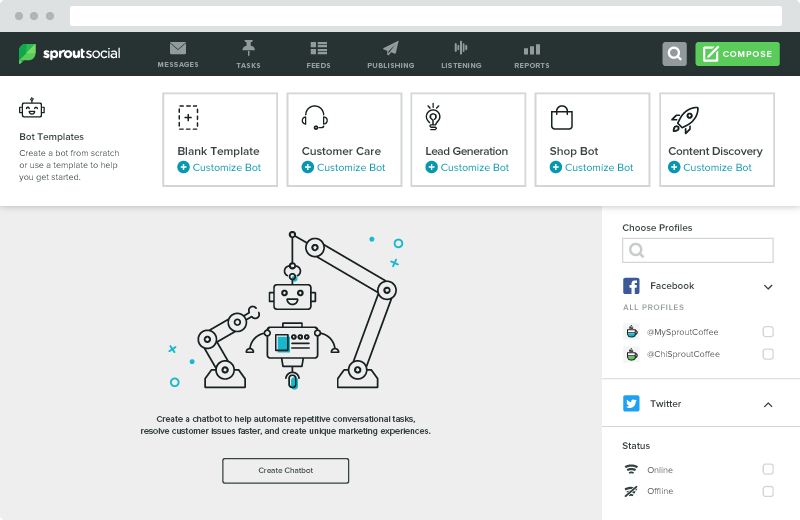 Sprout's bot builder is intuitive and easy to use