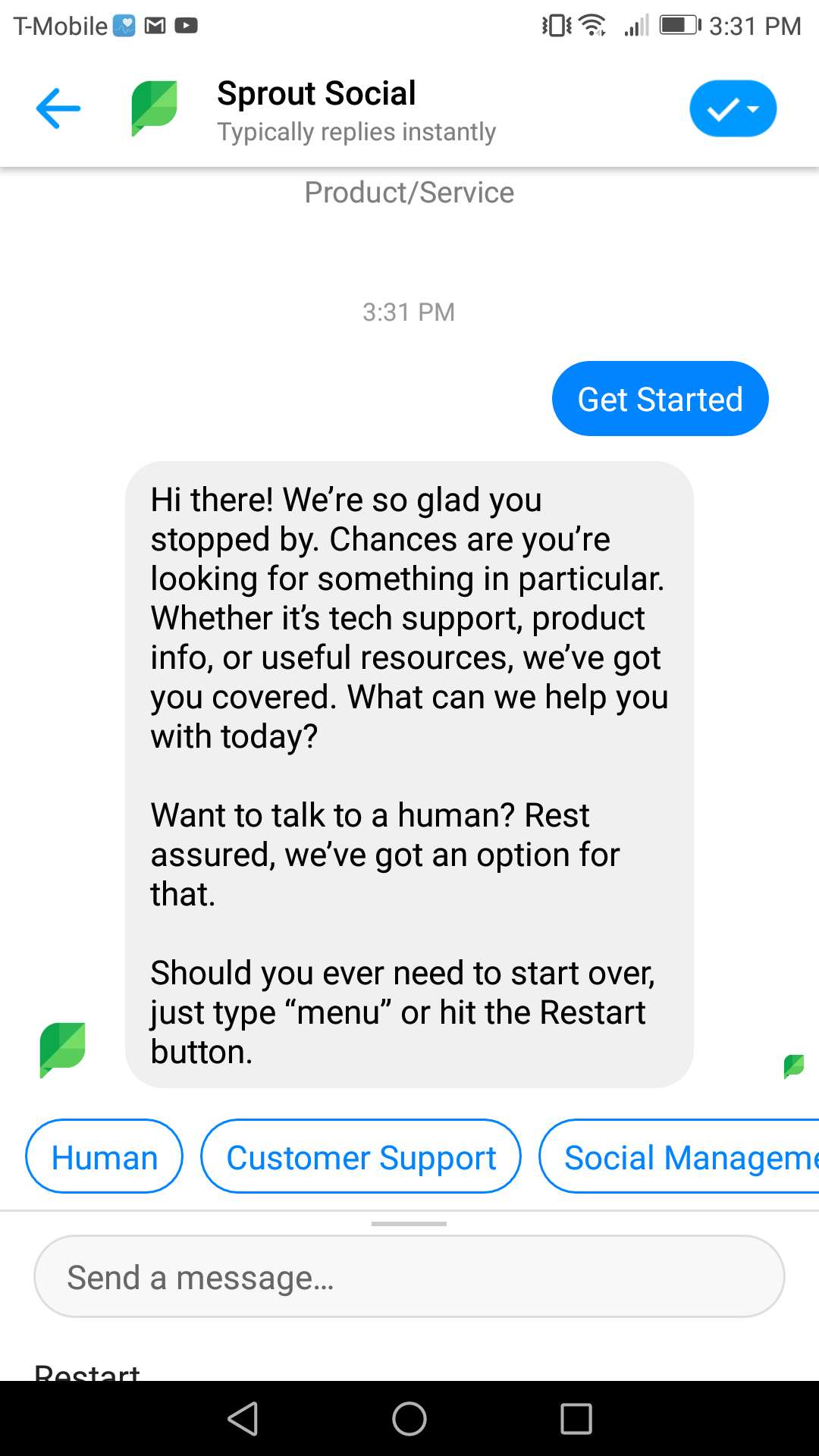Sprout's bot gives users a warm welcome