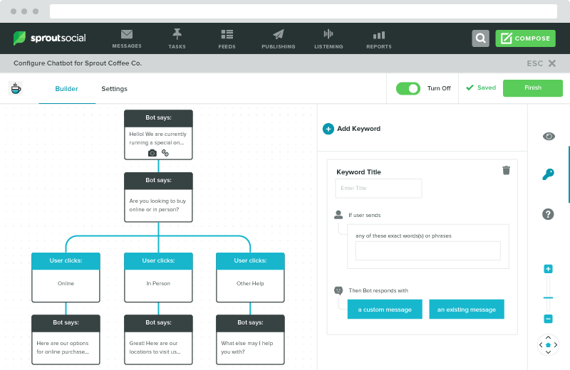 Sprout's bot builder offers easy-to-build workflows