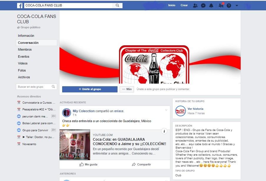 Grupo de Facebook de fans de Coca Cola.