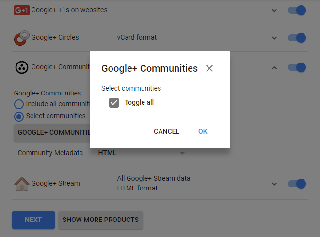 options to save Google Plus Communities data