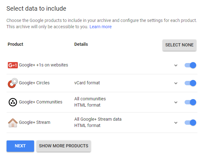 data saving options for Google Plus