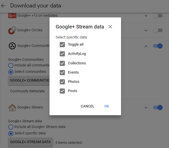 options for saving Google Plus Stream data