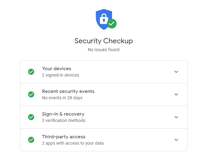 Google Security Checkup page