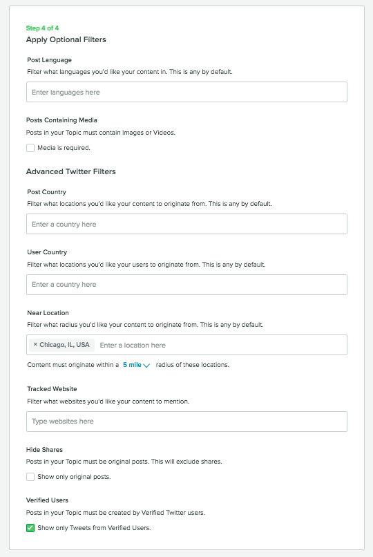 "1613be1b31f5 You could also check ""Show only Tweets from Verified Users"" in order to  turn these social insights into a new blog post called ""What Celebrities  Think of ..."