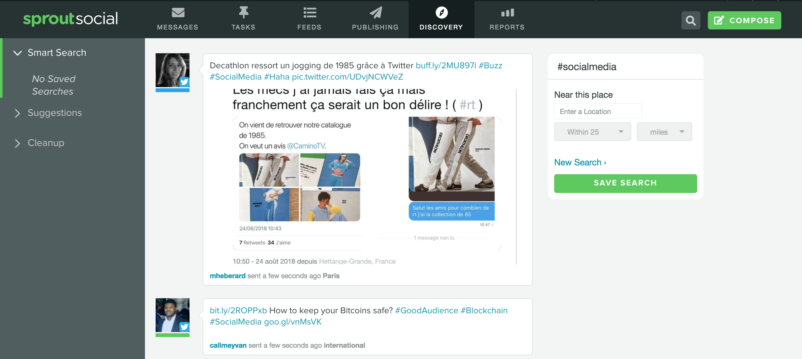 Screenshot of Sprout Social's discovery tab for hashtag search