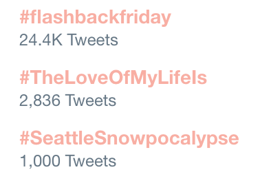 Screenshot of trending hashtags on Twitter