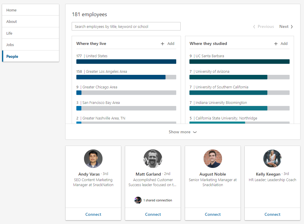 "LinkedIn's ""People"" section highlights your employees on the platform"