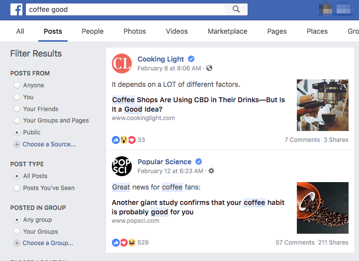 example of facebook search as an overseeing tool
