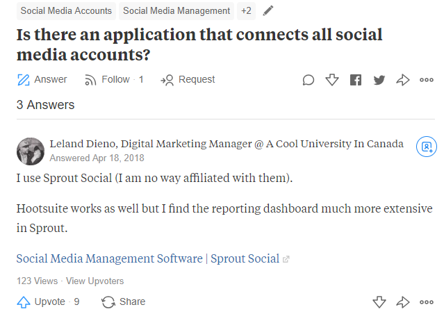 Online social listening on Quora helps detect positive mentions