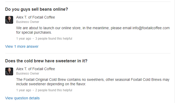 Yelp's community answers are a great place to engage your customers
