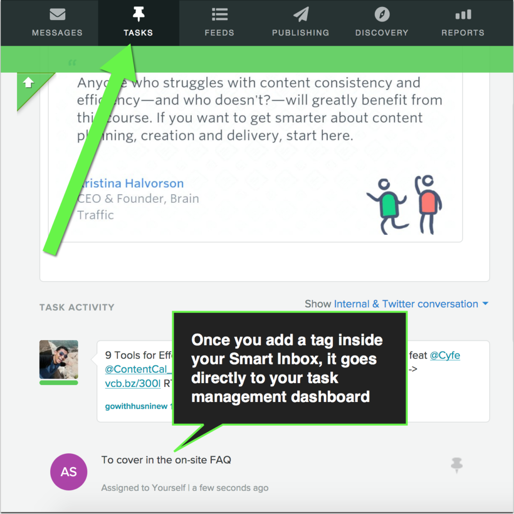 example of assigning a task in the sprout smart inbox using tags