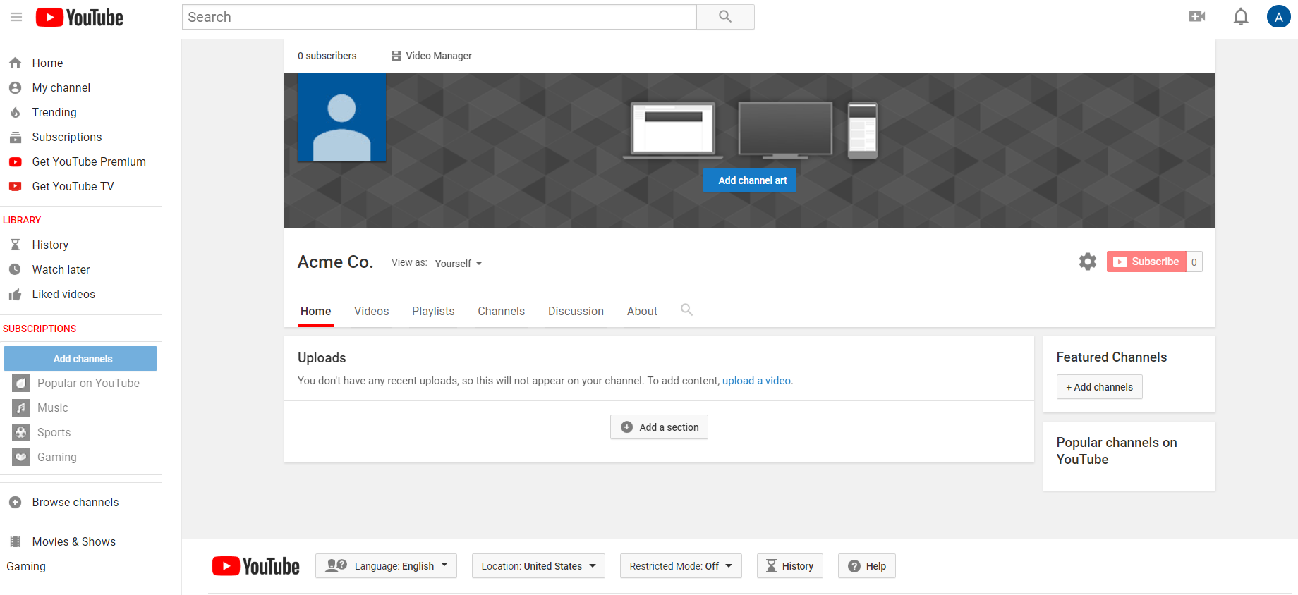 "YouTube's ""Customize Channel"" menu allows you to edit your channel ceatives"
