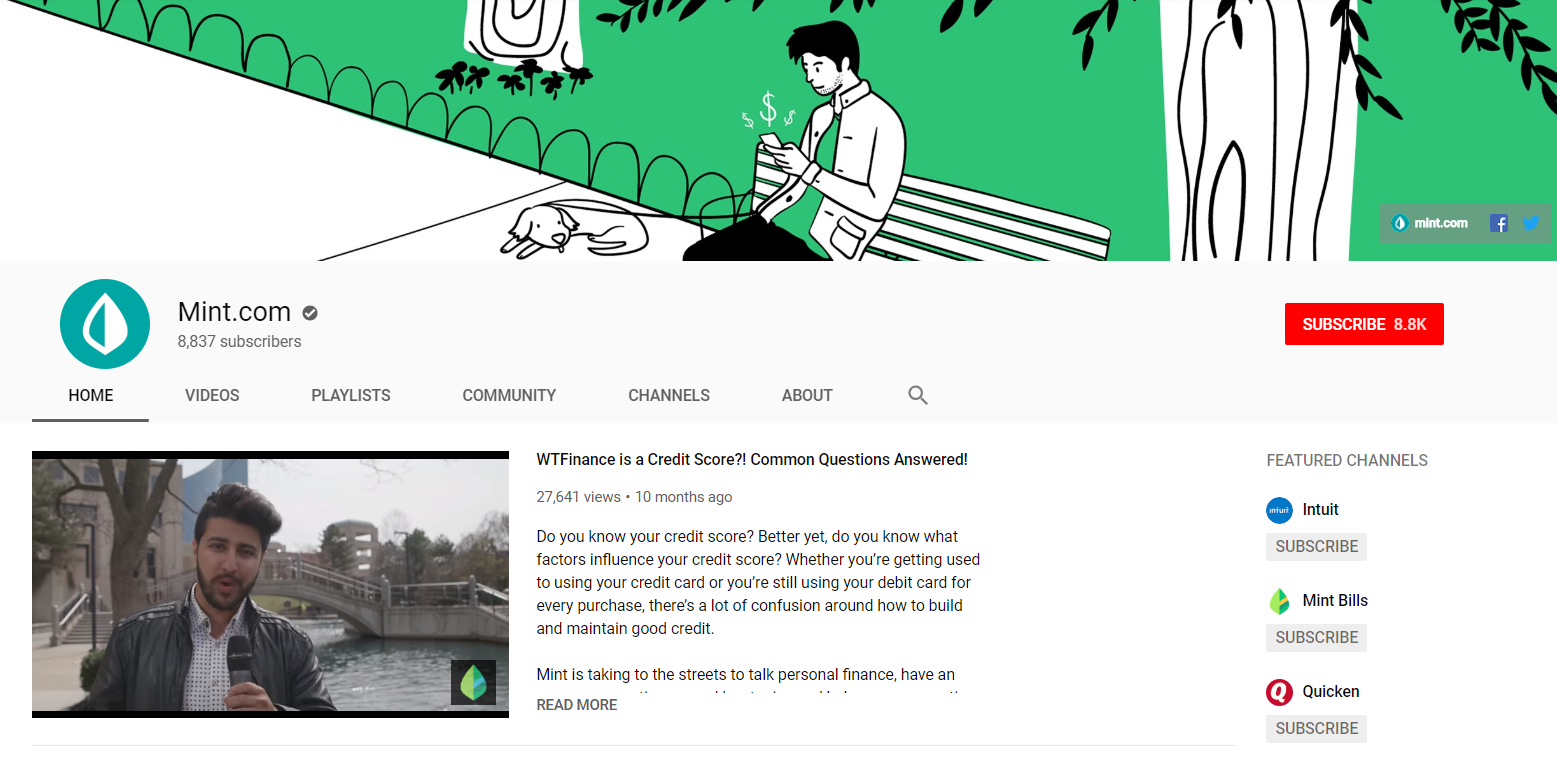 If you're looking for inspiration for how to create a YouTube account that's optimized, just take a look at Mint's channel