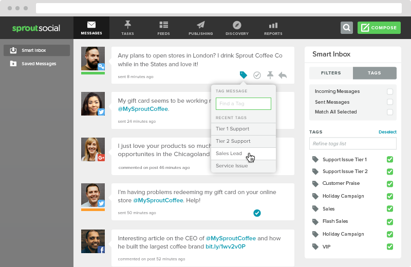 Sprout's smart inbox allows you to tag specific social users as sales leads