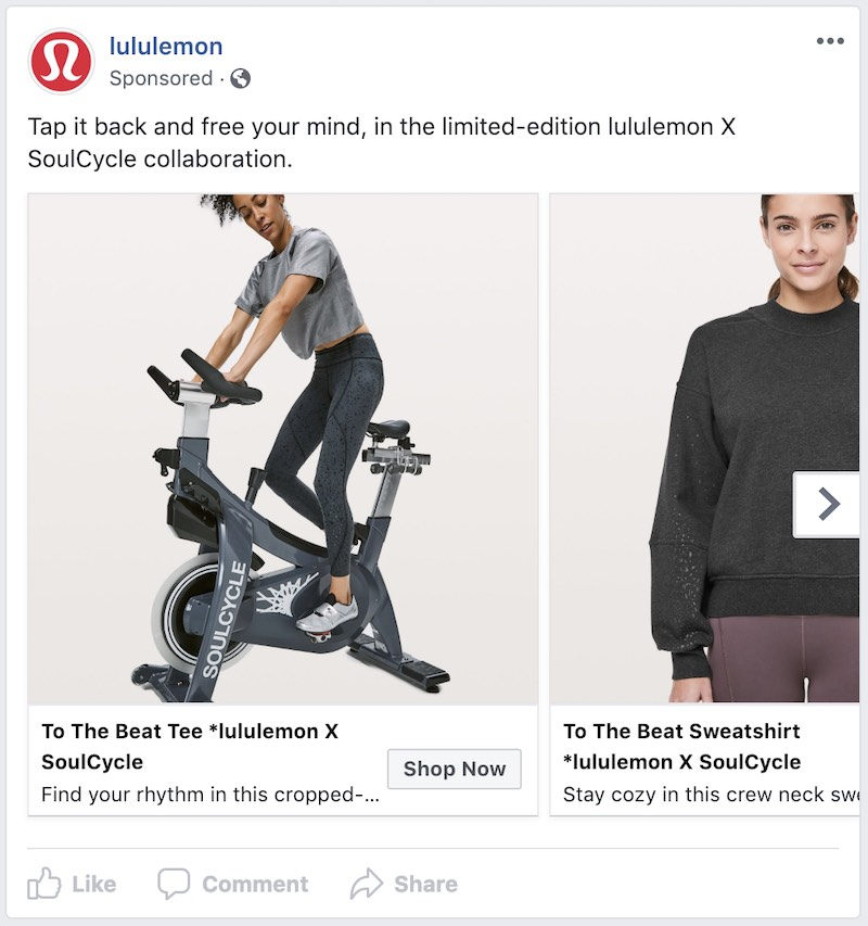 In addition to organic social media, Lululemon runs paid social ads