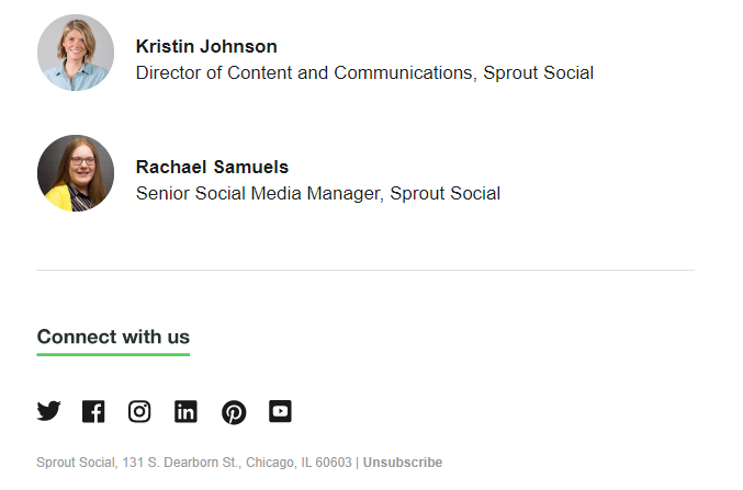 social media icons on Sprout email
