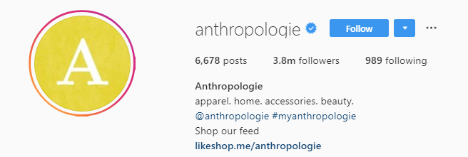 Retailers like Anthropologie encourage followers to share user-generated content