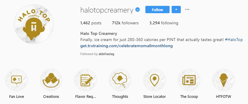 Halo top's bio link reflects their current Instagram promotion