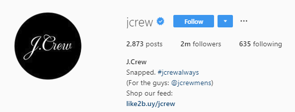 "J Crew's ""shop our feed"" in their bio serves as an actionable call-to-action"
