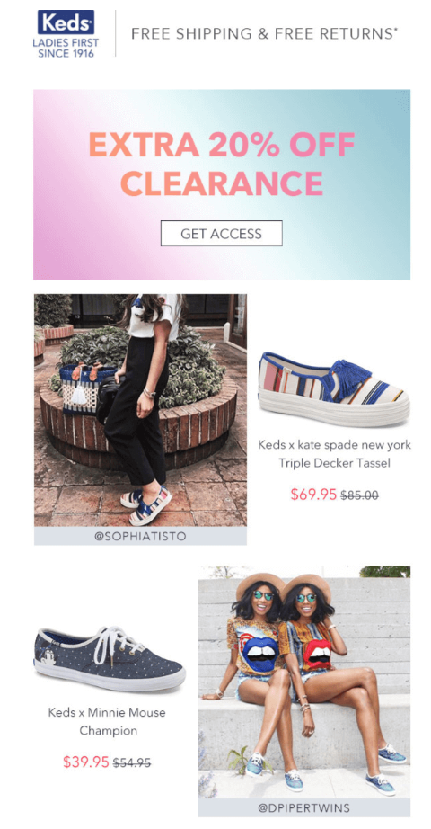 Keds uses user-generated content from Instagram to drive their email marketing campaigns