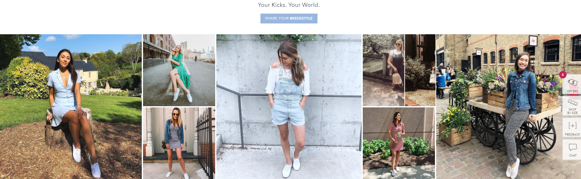 Keds features a lookbook of user-generated content on-site to increase their social media conversions