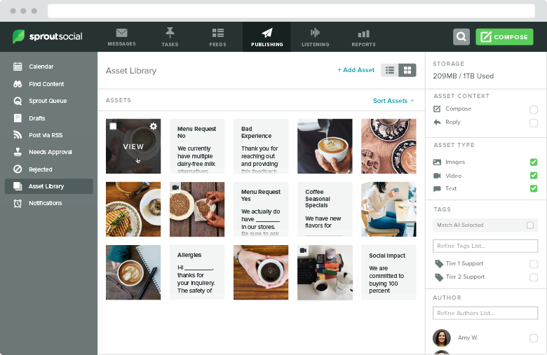 Having an asset library handy allows you to upload all of your social creatives in one place