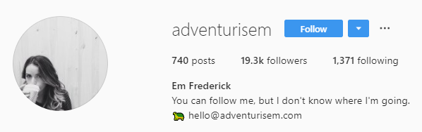 adventurism Instagram bio