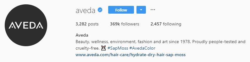 aveda Instagram bio