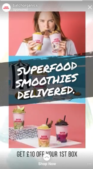 Batch Organics Instagram Stories ad with CTA