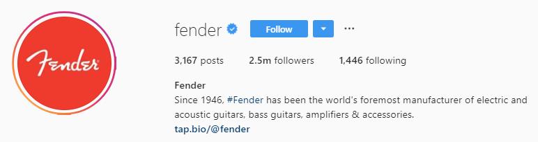 Fender tap bio