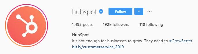 hubspot Instagram bio