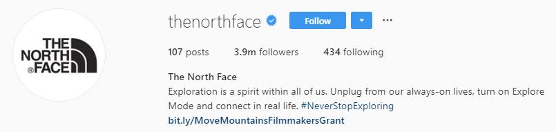 northface instagram bio