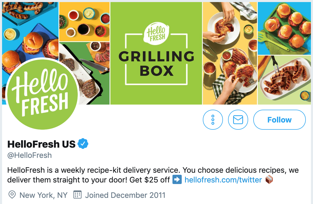 Twitter bio ideas - HelloFresh