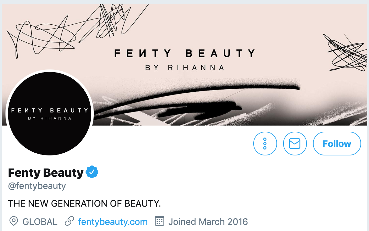 Twitter bio ideas - Fenty Beauty