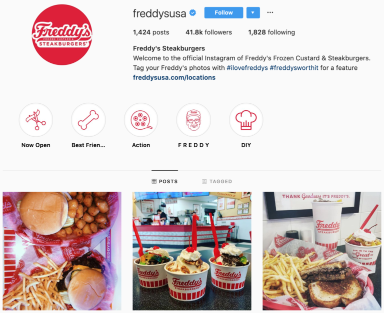 Freddy's Steakburgers IG bio showing their use of highlights