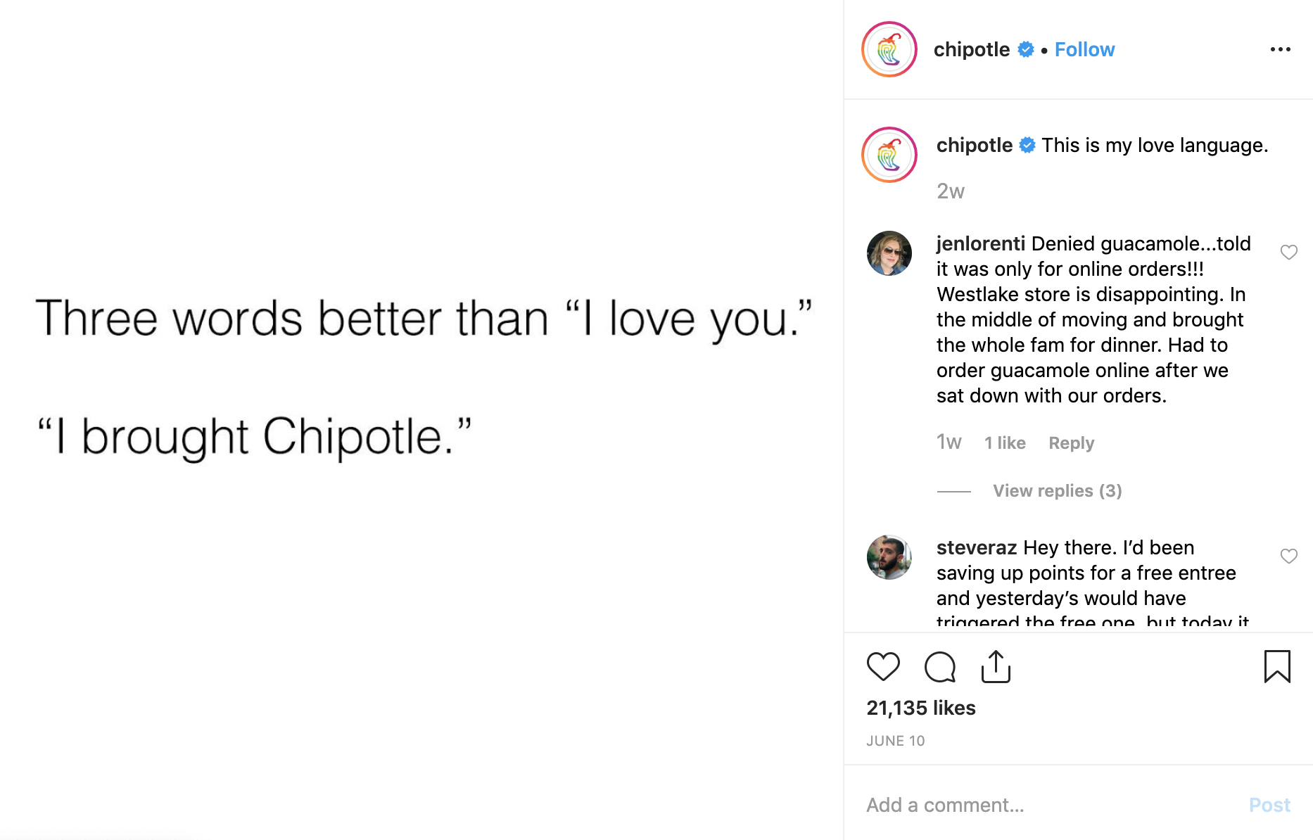 Chipotle on Instagram - best brands to follow