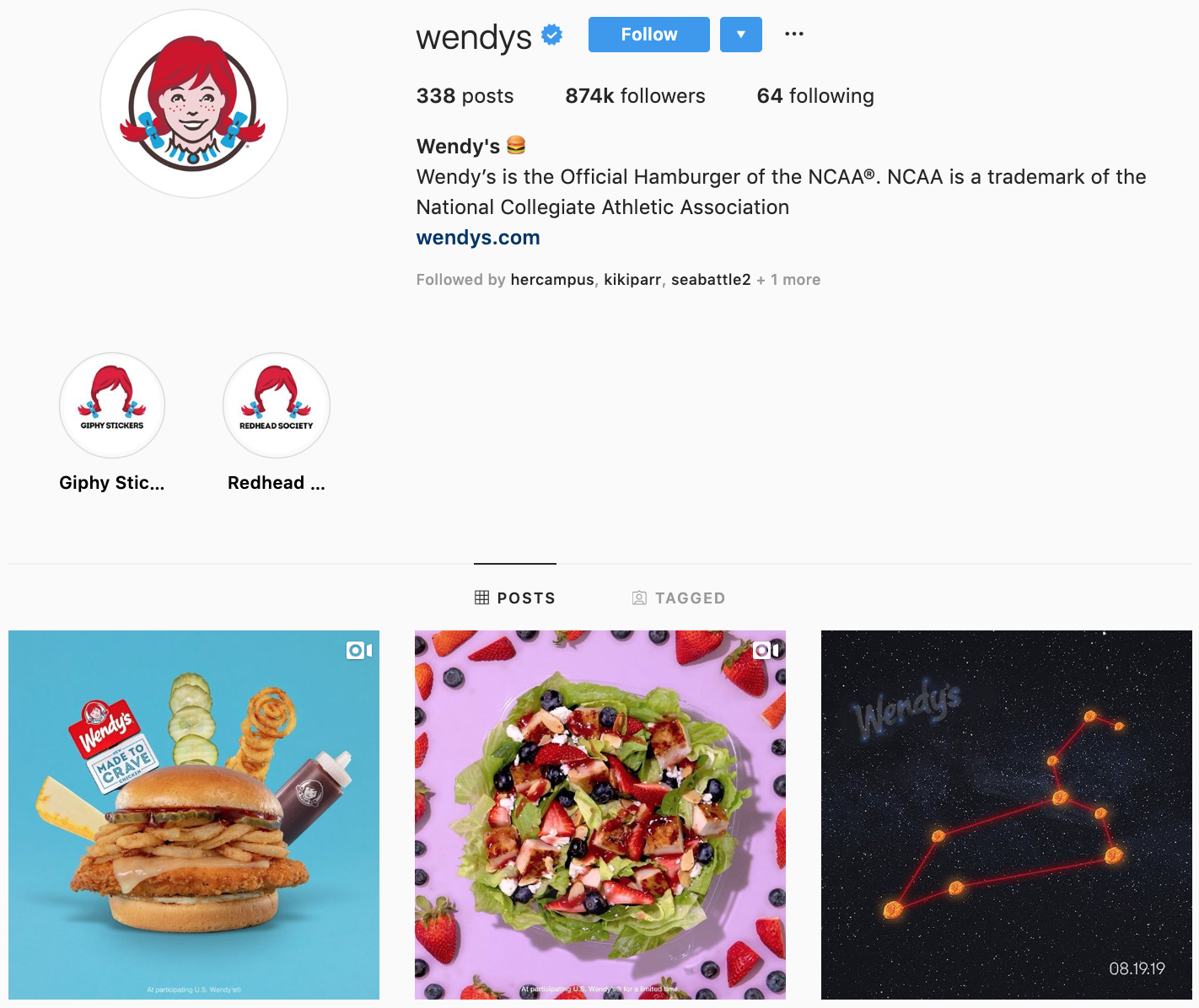 Wendy's on Instagram - best brands to follow