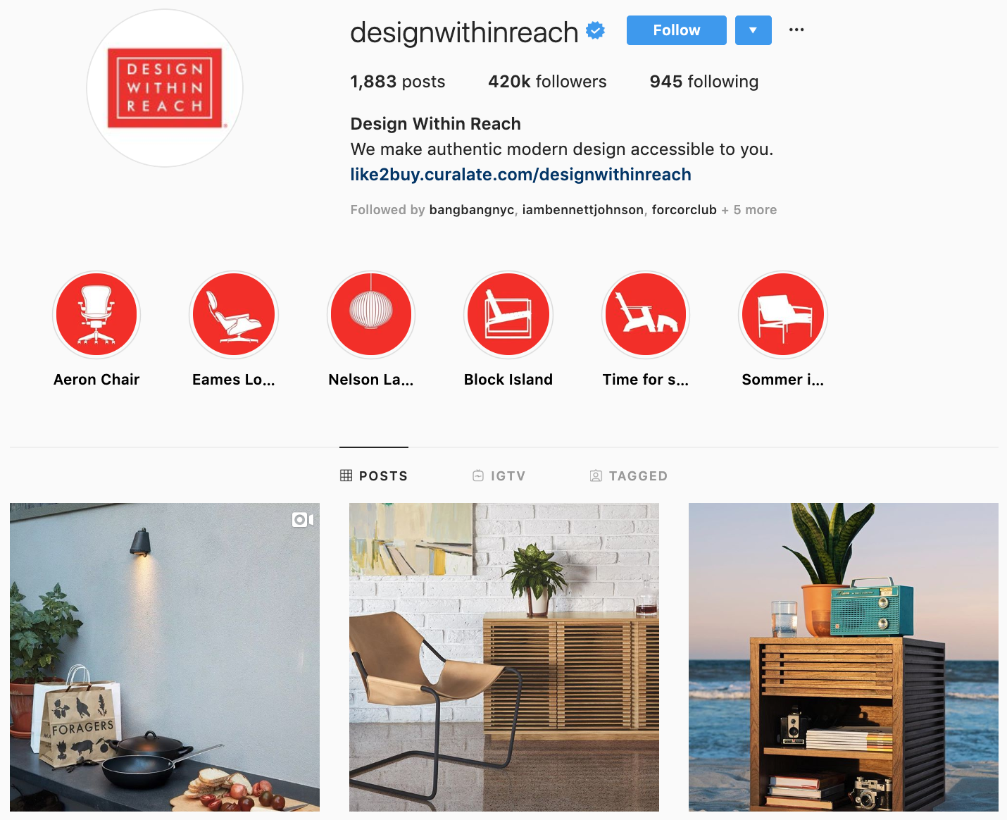 Design Within Reach on Instagram - best brands to follow