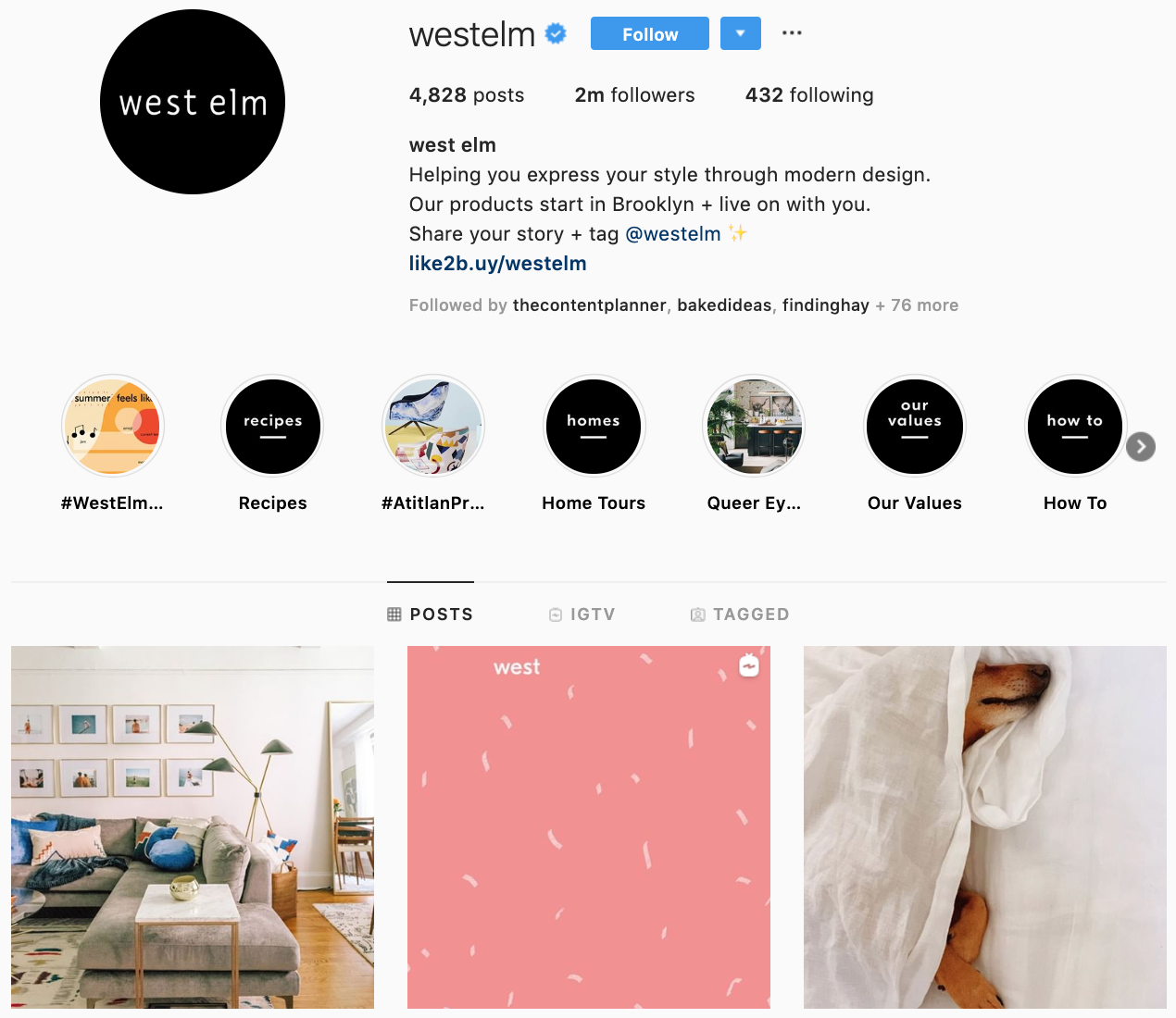 West Elm on Instagram - best brands to follow