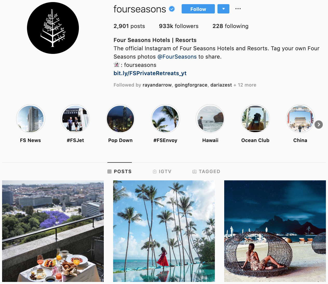 Four Seasons on Instagram - best brands to follow