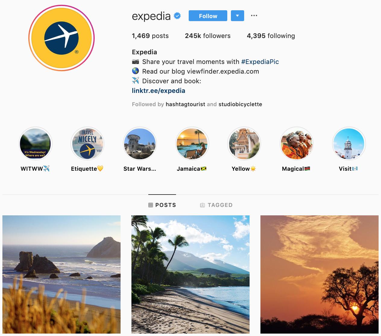Expedia on Instagram - best brands to follow