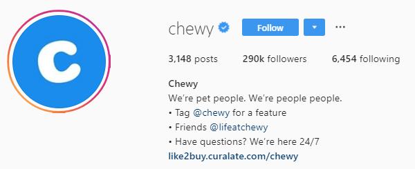 Chewy instagram bio