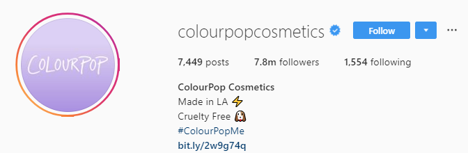 colourpop instagram bio