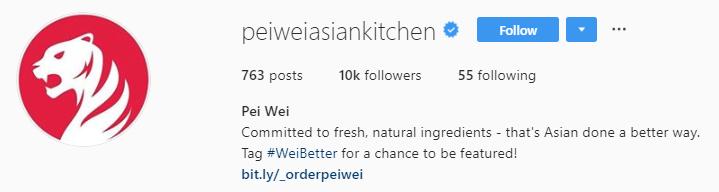 pei wei instagram bio