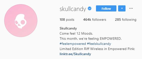 skullcandy instagram bio