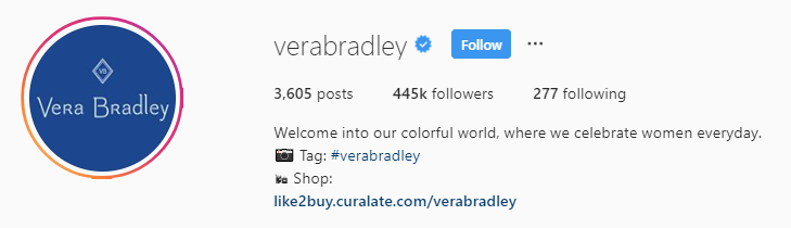 Vera Bradley Instagram bio